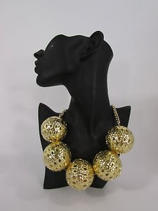 Other Women Gold Metal Chains Short Fashion Necklace Big Ornaments Balls Hip Hop