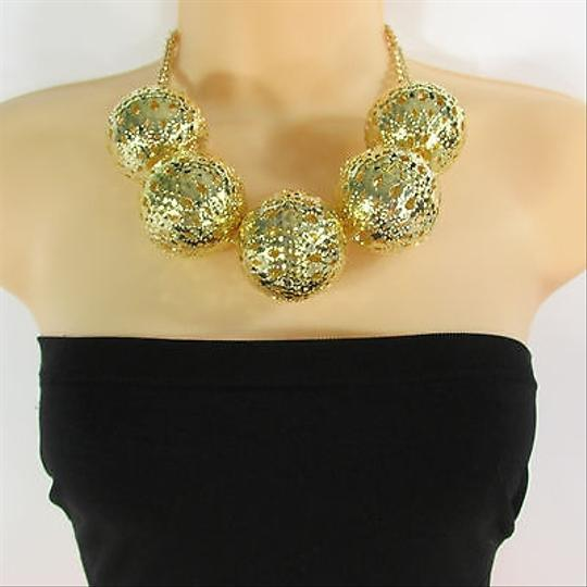 Other Women Gold Metal Chains Short Necklace Big Ornaments Balls