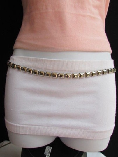 Other Women High Waist Hip Thin Silver Mini Squares Belt 35-45