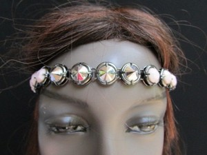 N. Women Pewter Metal Head Chain Fashion Jewelry Big Silver Cream Beads Headband