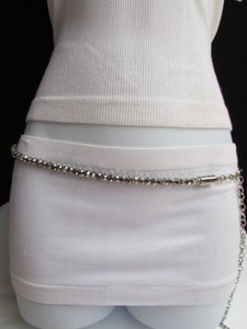 Women High Waist Hip Metal Chains Round Silver Beads Fashion Belt 31-44