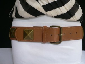 Other Women Hip Waist Faux Leather Brown Fashion Belt Big Gold Studs 30-35 Ml