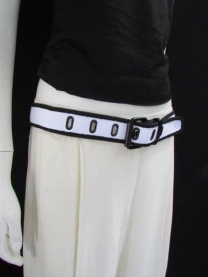 Other Women Jeans Black White Fabric Classic Fashion Belt Black Buckle 30-36 Sm