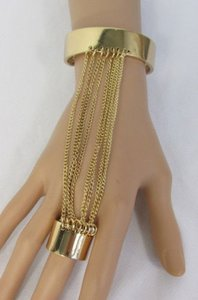 Alwaystyle4you Women Gold Metal Hand Multi Chains Slave Ring Fashion Bracelet Jewelry