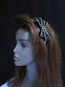 Women Black Silver Rhinestones Big Bow Fashion Headband Hair Accessories
