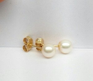 Freshwater Cultured Pearl Stud Earrings 14K Yellow Gold 5.5MM