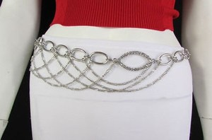 Other Women Silver Metal Oval Fashion Chain Belt Low Hip High Waist
