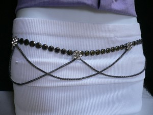Other Women Hip Pewter Metal Chains Fashion Belt Drape Silver Flowers 28-40