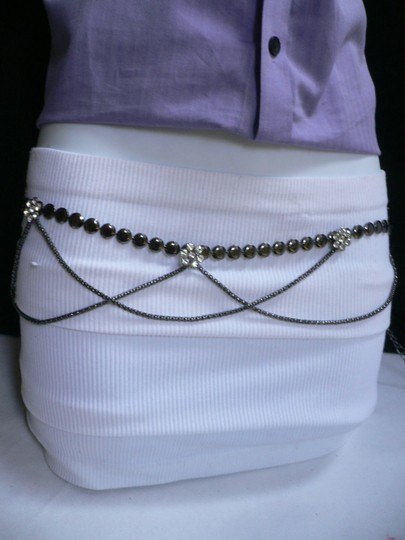 Other Women Hip Pewter Metal Chains Fashion Belt Drape Silver Flowers