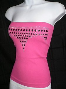 Other N Disco Strapless Platic Studs Casual Style Top Pinks