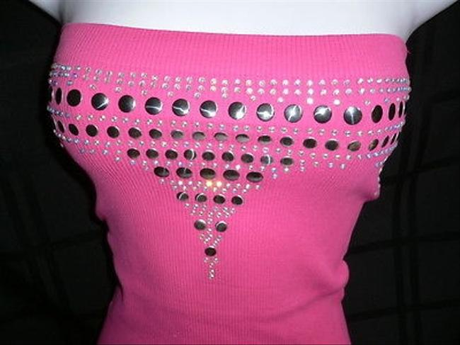 Other Disco Camisole Strapless Platic Studs Casual Style Top Pinks