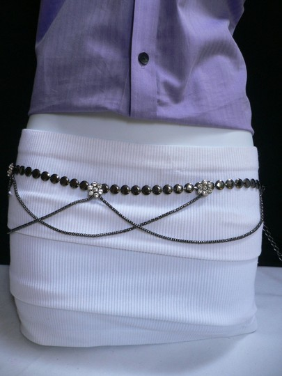 Other Women Hip Pewter Metal Chains Fashion Belt Drape Silver Beads Flowers