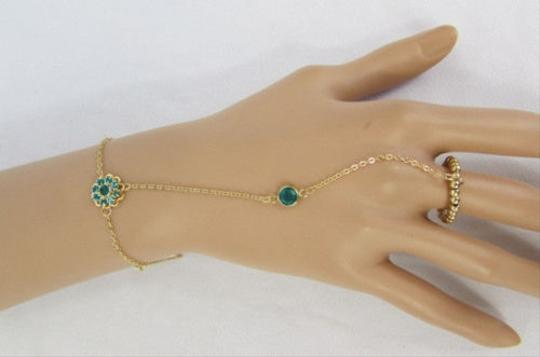 Other Women Gold Metal Hand Chains Slave Ring Blue Beads Flower