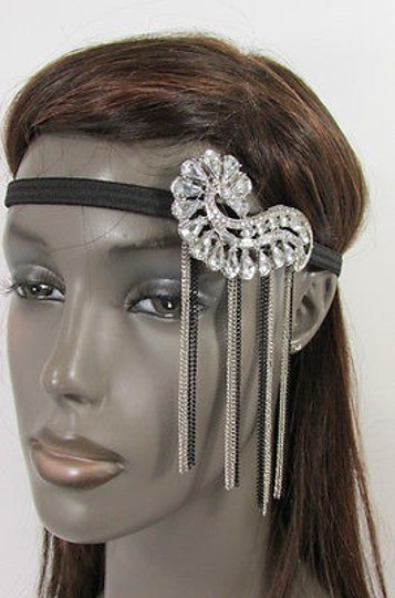 Hand made Women Elastic Band Silver Black Metal Side Head Chain Fashion Jewelry Shell