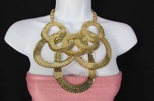 Women Gold Silver Metal Chain Links Fashion Necklace Earrings Set