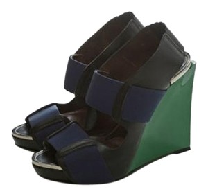Marni Leather Wedge Platform Green Wedges
