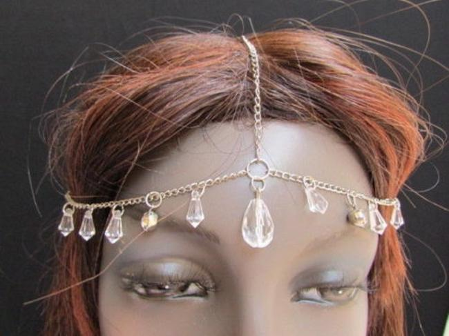 Alwaystyle4you Silver Women Metal Head Chain Big Clear Beads Fashion Jewelry Hair Accessory Alwaystyle4you Silver Women Metal Head Chain Big Clear Beads Fashion Jewelry Hair Accessory Image 1