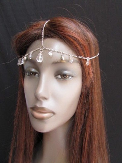 Other Women Silver Metal Head Chain Big Clear Beads Fashion Jewelry