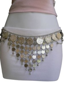 Women Silver Chains Coins Metal Fashion Belt Wide Dancing 27-40 India