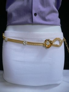 Women Hip Waist Gold Metal Chains Fashion Belt Silver Flowers 26-47 Xs-xl