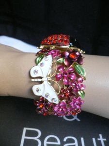 Other N Women Gold Cuff Lady Bug White Butterfly Pink Flowers Bracelet Red Rhinestones