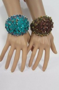 Women Bracelet Metal Cuff Silver Aqua Blue Gold Brown Flowers Beads Balls