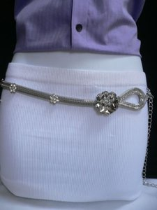 Other Women Hip Waist Silver Metal Chains Fashion Belt Big Flowers 26-47 Xs-xl