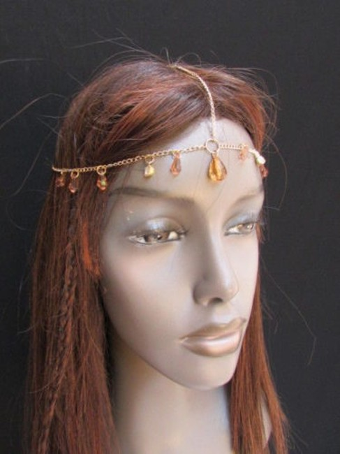 Alwaystyle4you Gold Women Metal Head Chain Big Brown Clear Beads Headband Hair Accessory Alwaystyle4you Gold Women Metal Head Chain Big Brown Clear Beads Headband Hair Accessory Image 1