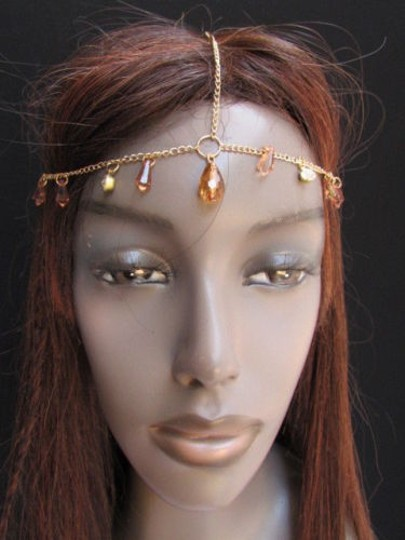 Other Women Gold Metal Head Chain Big Brown Clear Beads Fashion Jewelry Headband