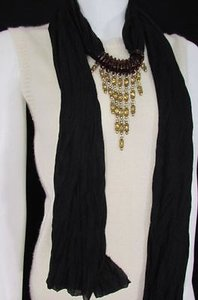 Women Black Fashion Soft Scarf Long Necklace Triangle Gold Rhinestones Pendant