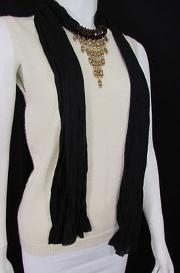 Other Women Black Scarf Long Necklace Triangle Gold Rhinestones Pendant
