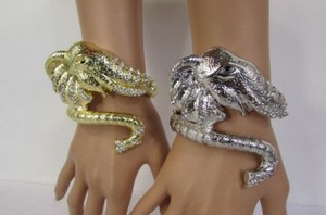 Women Silver Gold Big Elephant Head Metal Cuff Fashion Bracelet Chic Style
