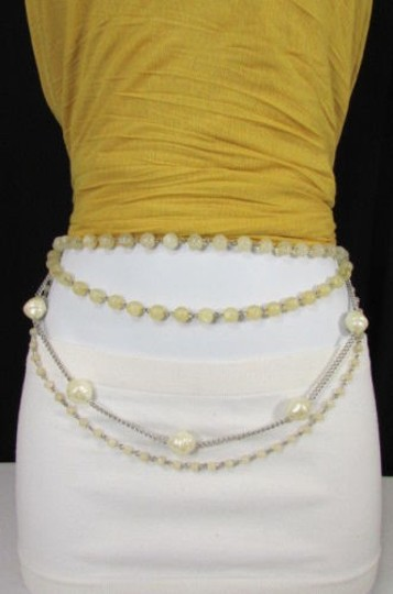Other Women Fashion Silver Metal Chain Pearl Beads Belt Hip Waist 25-42