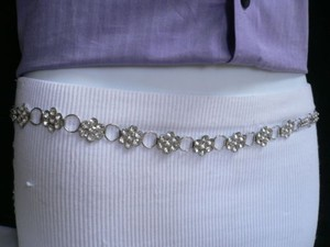Other Women Hip Silver Metal Chains Thin Fashion Belt Flowers Beads 28-40