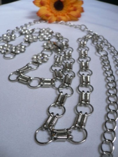 Other Women Hip Silver Metal Chains Thin Fashion Belt Flowers
