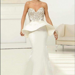Jovani Jovani 23927 Ivory Peplum Wedding Dress Wedding Dress