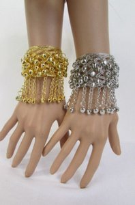 Women Silver Gold Metal Cuff Fashion Bracelet Chains Bells Dancing Jewelry