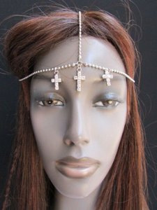 Other Women Chain Silver Metal Head Multi Cross Beads Fashion Jewelry Headband