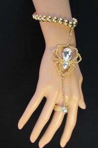 Women Bracelet Fashion Metal Hand Chain Spider Jewelry Gold Silver Halloween