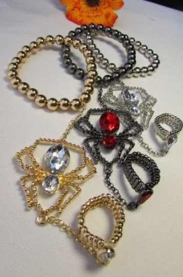 Other Women Bracelet Hand Chain Spider Jewelry Gold Silver Halloween