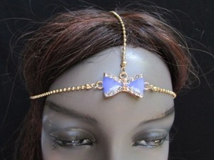 Other Women Gold Metal Head Chain Fashion Jewelry Purple Bow Adjustable Headband