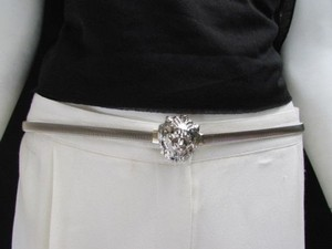 Women Hip Waist Silver Thin Metal Fashion Belt Lion Head Buckle 27-40 S-m-l