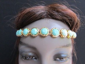 Women Gold Metal Head Chain Fashion Jewelrybig Blue Teal Beads Headband