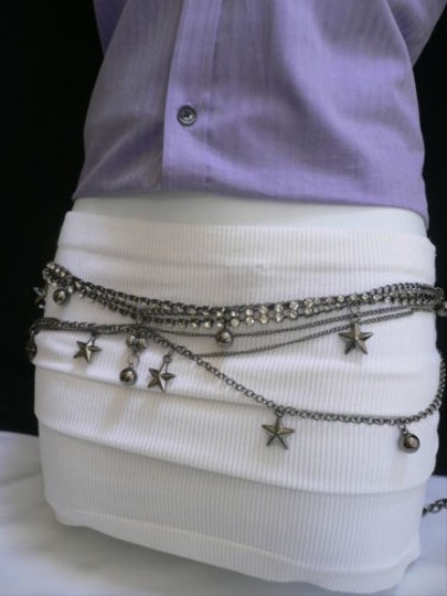 Other Women Pewter Gunmetal Hip Metal Rhinestones Star Balls Fashion Belt