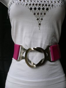 Women High Waist Stretch Pink Hip Chic Belt Hand Cops Buckle Plus