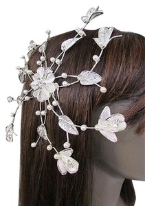 Women Silver Metal 88 Flower Leaves Rhinestone Large Head Fashion Jewelry