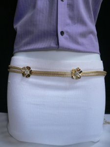 Other Women Hip Gold Metal Chains Thin Fashion Belt Big Flowers