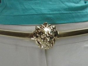 Women Hip Waist Gold Thin Metal Fashion Belt Lion Head Buckle 27-40 S-m-l