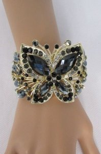 Other Women Bracelet Yellow Gold Metal Cuff Big Butterfly Rhinestones Black Brown