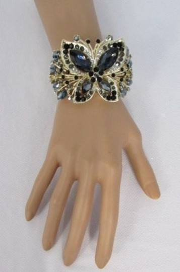Other Women Bracelet Yellow Gold Cuff Big Butterfly Rhinestones Black Brown